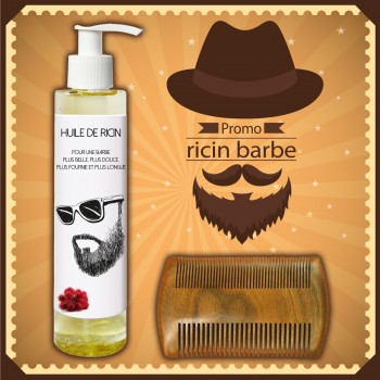 Huile de ricin barbe (huile de castor) et peigne à barbe