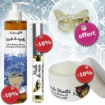 Opération anti-froid : nigelle + mascara ricin + karité + papillon à clip