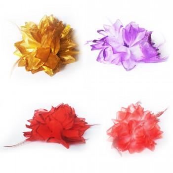 Fleur et plumes à clip et élastique