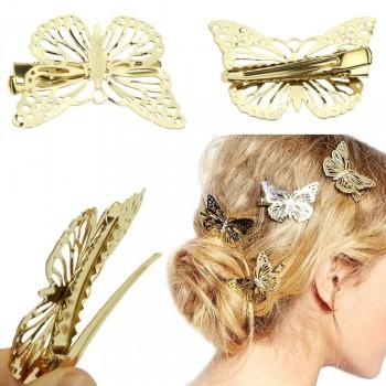 Papillon doré à clip