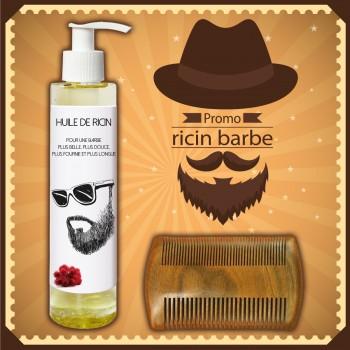 Huile de ricin barbe + peigne à barbe en bois de santal antistatique