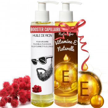 Huile de ricin barbe et huile de vitamine E