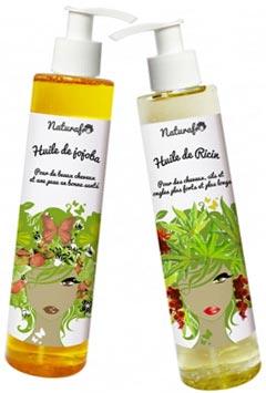 Huile de jojoba cheveux et huile de ricin