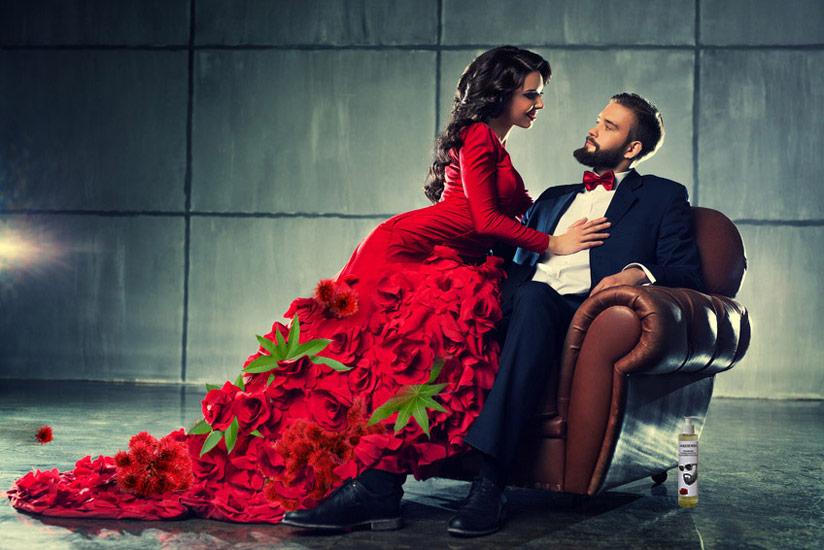 Huile de ricin barbe, homme avec barbe et femme avec robe de ricin